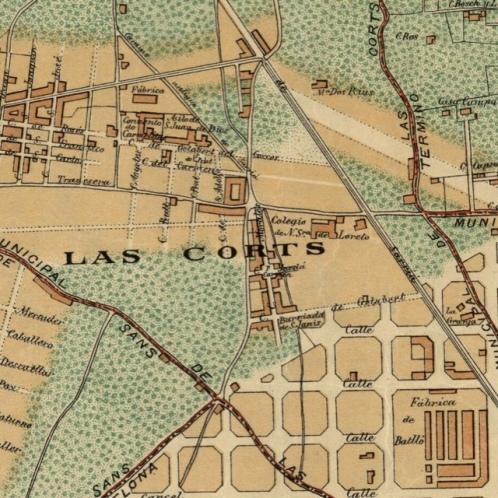 la parcela de la Colònia Castells antes de que Les Corts se anexó a Barcelona